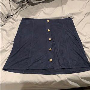 Navy blue suede Romeo and Juliet skirt - medium